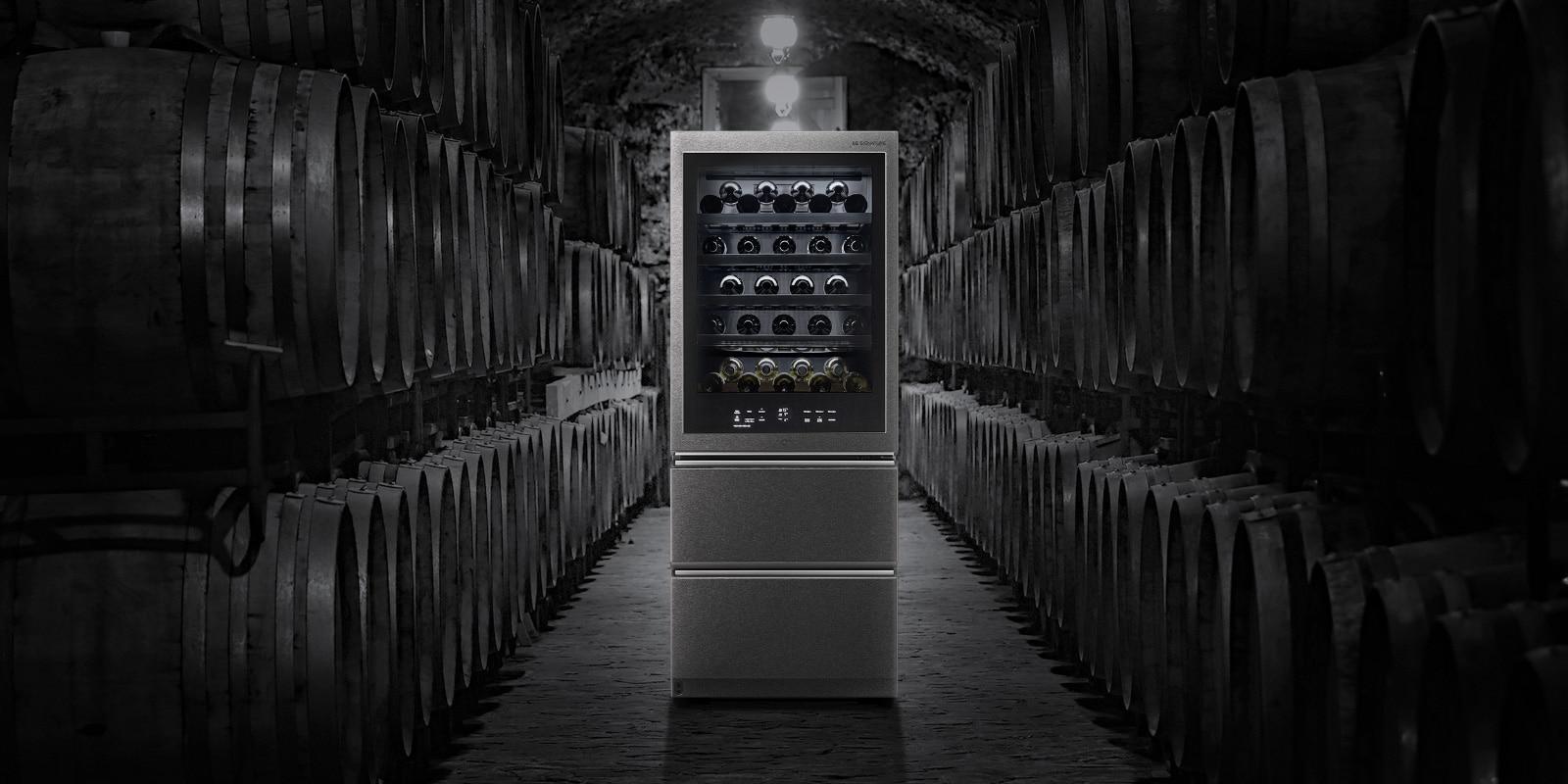 La Vinoteca Gourmet LG SIGNATURE está diseñada para recrear las condiciones de las cuevas de vino tradicionales.
