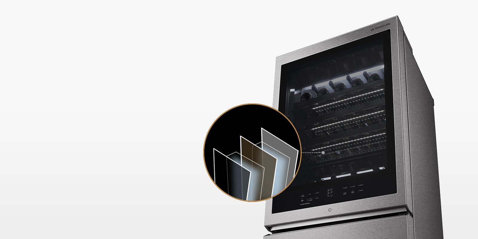 La Vinoteca Gourmet LG SIGNATURE tiene tres capas de vidrio tintadas que no permite que entre el calor y la radiación ultravioleta.