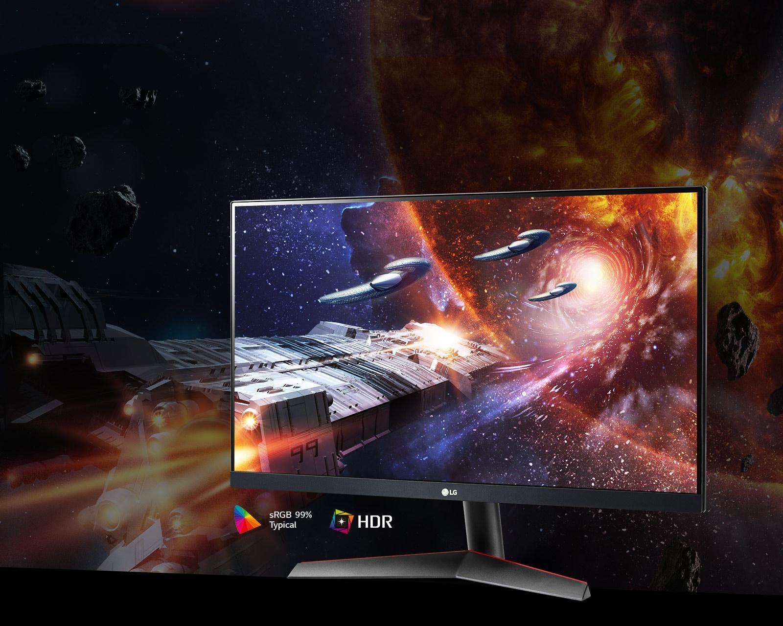 La escena del juego en colores ricos y contraste en un monitor compatible con HDR10 con SRGB 99 % (Typ.)