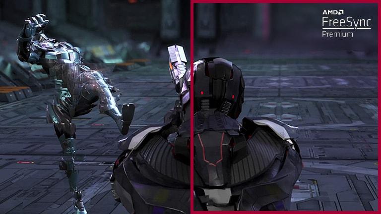 En el juego FPS de ritmo rápido, con el modo Freesync™ Premium desactivado, el jugador se mueve alrededor de 3 oponentes protegiéndose y disparando, y los cuadros interrumpidos y la fragmentación de pantalla aparecen durante el movimiento rápido del oponente, en comparación con el movimiento continuo de otra escena con el modo Freesync™ Premium activado.