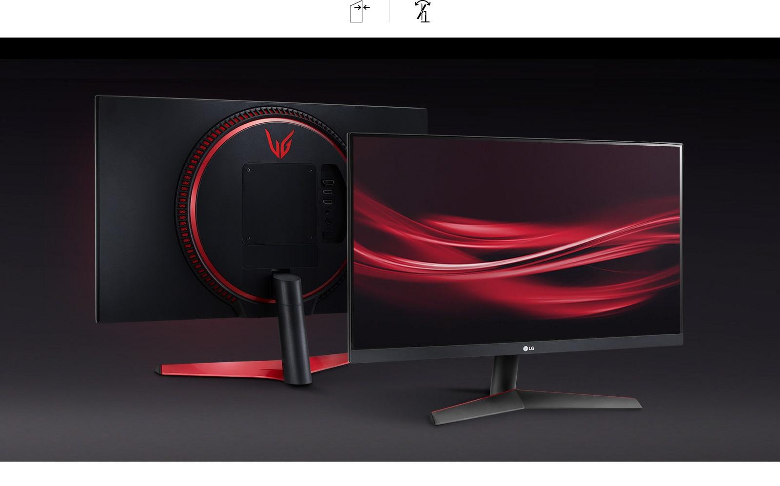 Monitor con un diseño elegante y prácticamente sin bordes con un soporte con inclinación ajustable