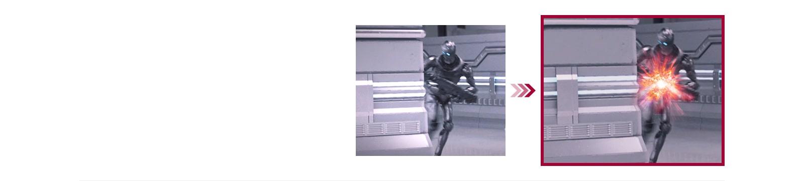 Una comparación de dos escenas de juego entre el modo convencional y el modo Dynamic Action Sync con el retraso de entrada minimizado