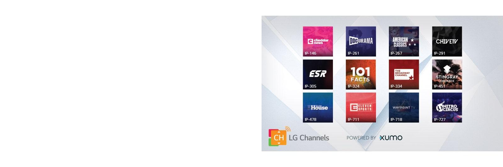 Miniaturas de 12 títulos de LG Channels