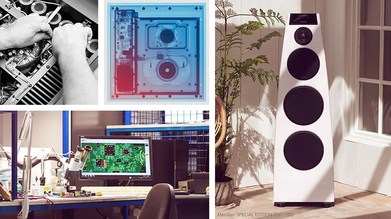 Collage. De arriba a abajo y de izquierda a derecha: dos imágenes de hardware interno Meridian, un altavoz Meridian y un escritorio de I+D de Meridian