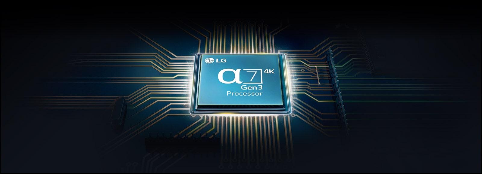 Chip Alfa 7 montado en la placa base del televisor