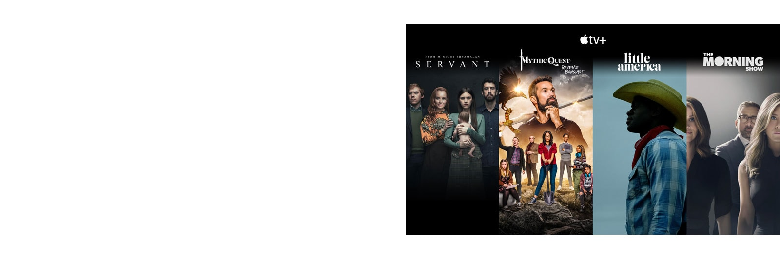 Miniaturas de los 4 principales títulos de Apple TV+