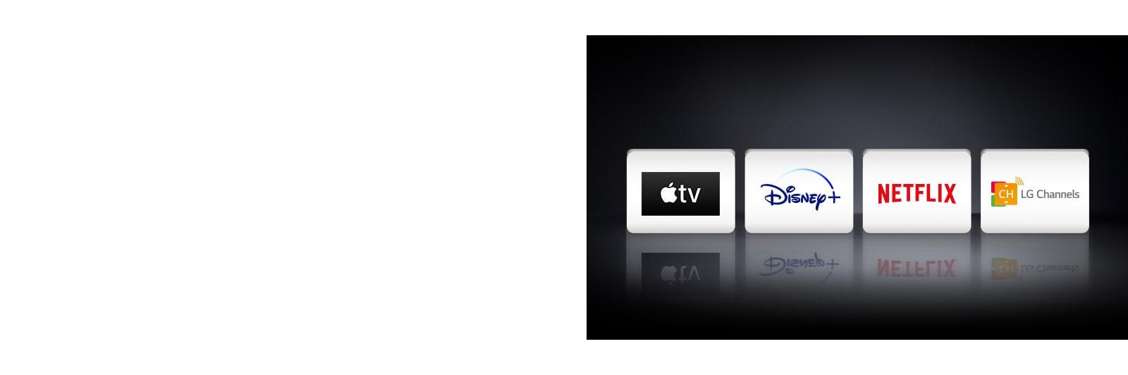 Cuatro logotipos: Apple TV, Disney+, Netflix y LG Channels