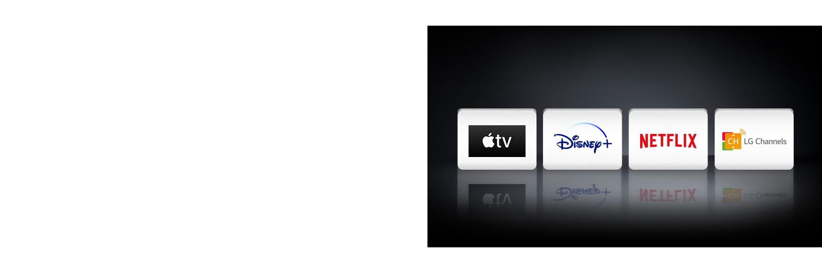 Se muestran cuatro logos de aplicaciones de izquierda a derecha: Apple TV, Disney+, Netflix y LG Channels.
