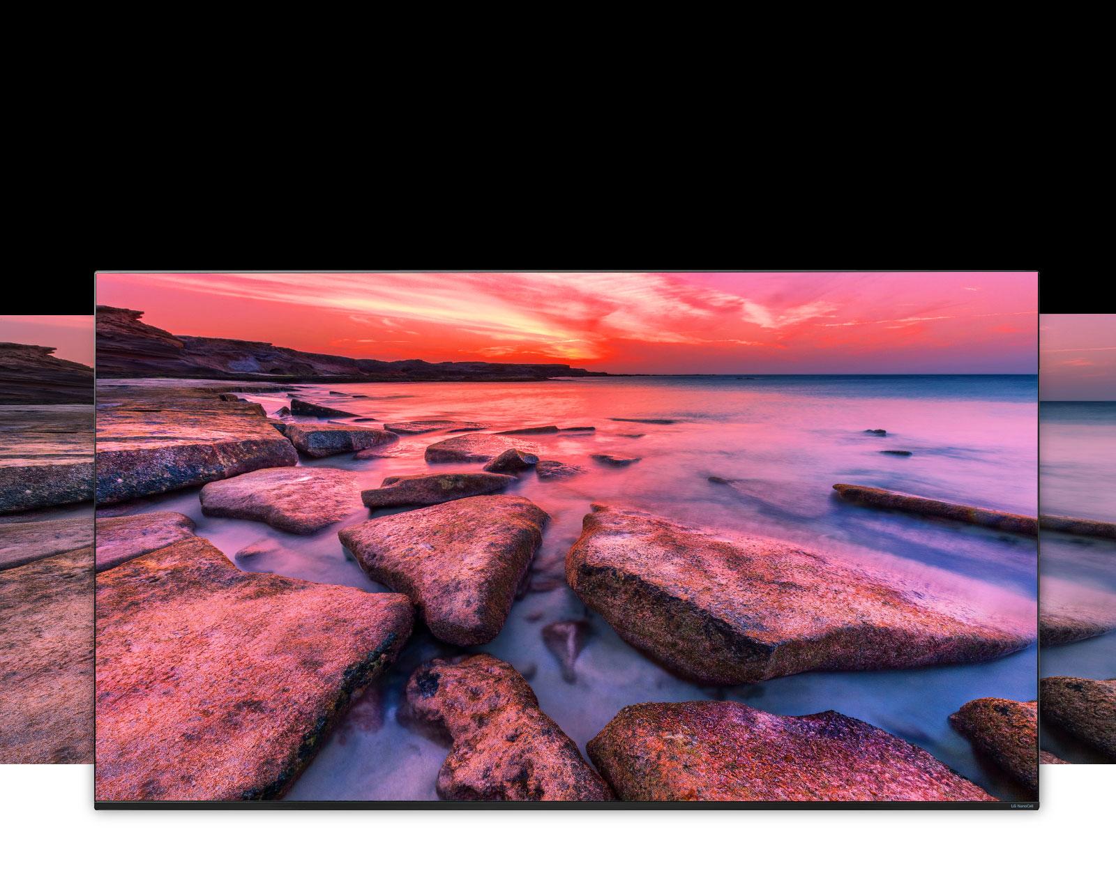 Una pantalla de TV que muestra una vista panorámica de la naturaleza