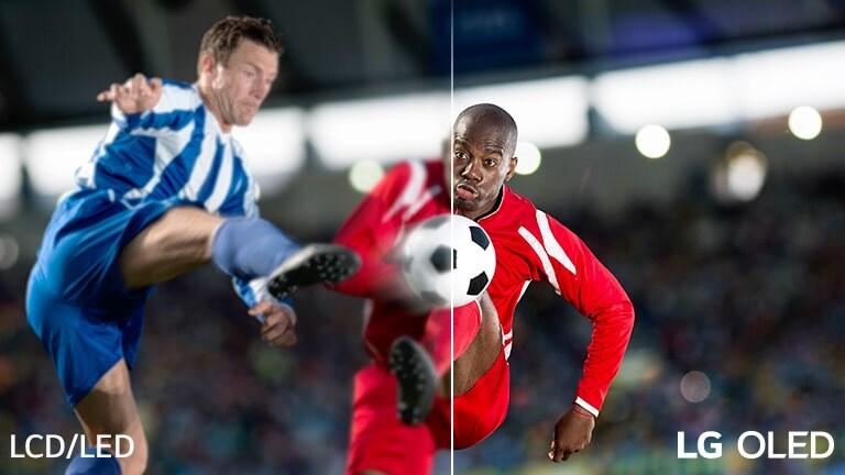 La escena de un partido de fútbol se divide en dos para compararla visualmente. En la imagen, hay el texto LCD/LED en la parte inferior izquierda y el logotipo de LG OLED en la parte inferior derecha.