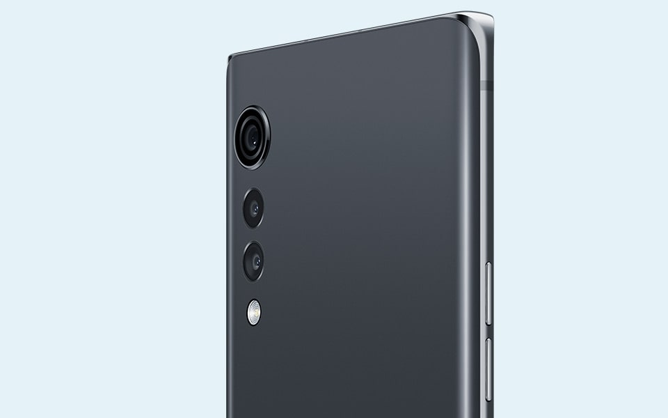 A rear view of the LG VELVET smartphone in Aurora Gray colour