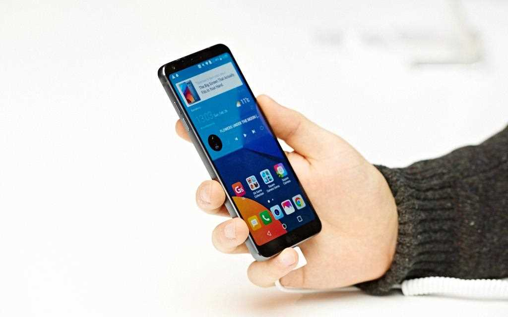 An image of a person holding a new lg g6 smartphone