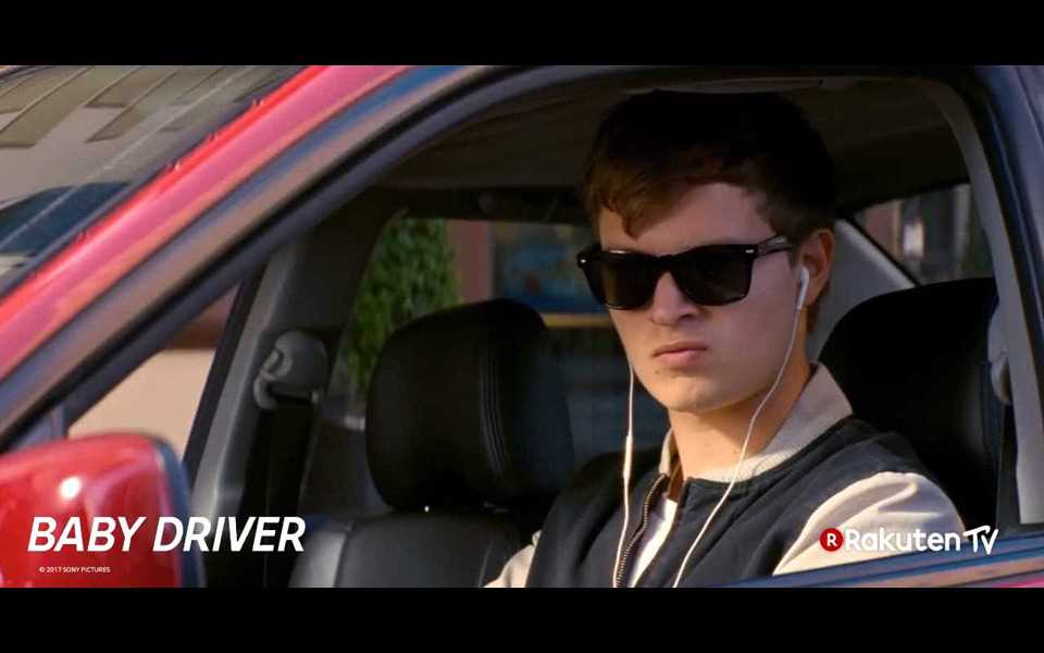 An image from the movie 'Baby Driver' of Rakuten TV, which can enjoy with LG Dolby Vision and Dolby Atmos compatible Tvs.
