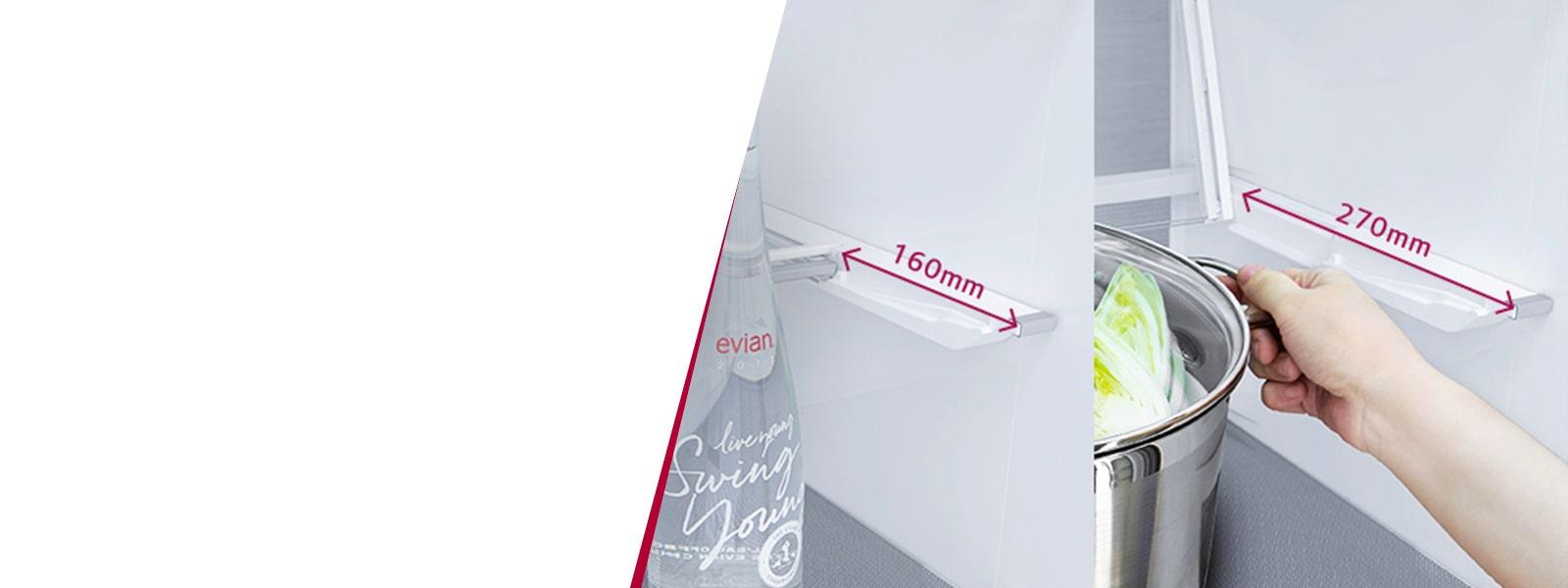 Démonstration de l'utilisation de la clayette dans le réfrigérateur