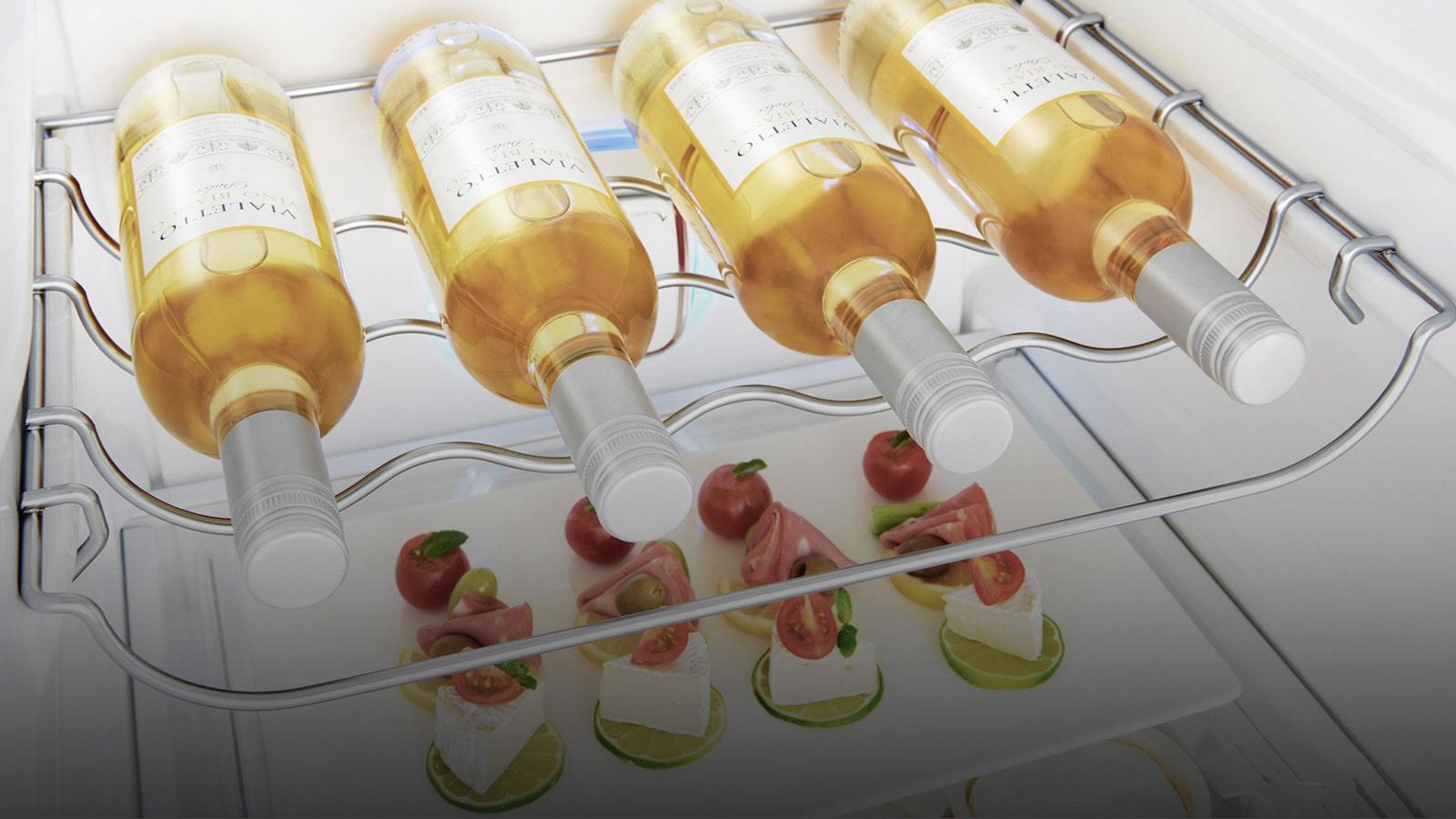 Bouteilles de vin stockées dans le porte bouteilles dédié