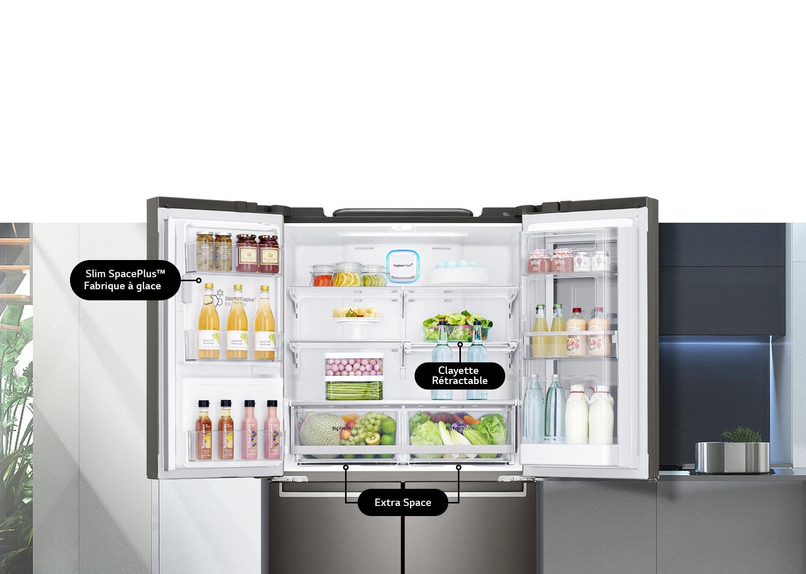 Réfrigérateur portes ouvertes avec ses différentes options pratiques