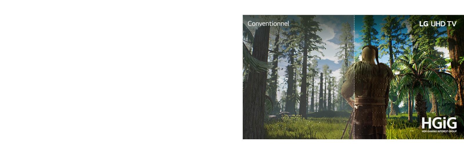 Écran de téléviseur montrant une scène de jeu avec un homme se tenant en pleine forêt. Une moitié de l'image est présentée sur un écran conventionnel avec une qualité d'image médiocre. L'autre moitié est présentée sur un écran de téléviseur UHD LG avec une qualité d'image lumineuse et réaliste.