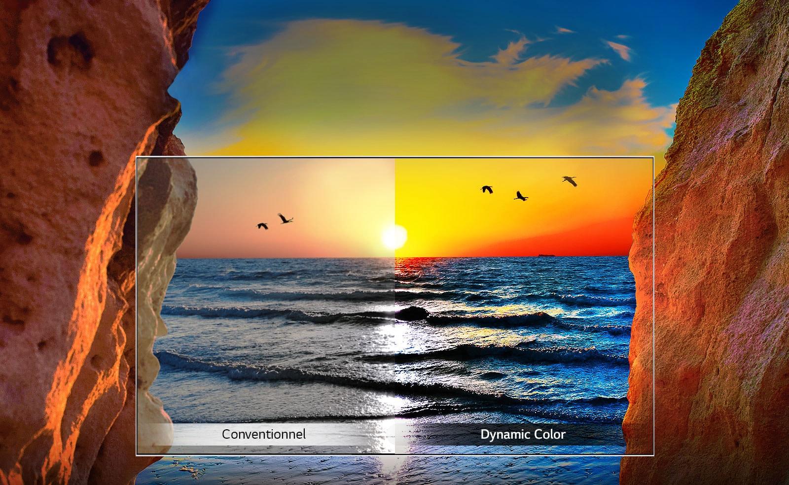 Couché de soleil avec et sans technologie Dynamic Color