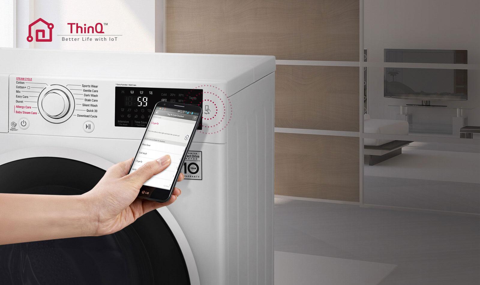 Lave-linge connecté à un smartphone