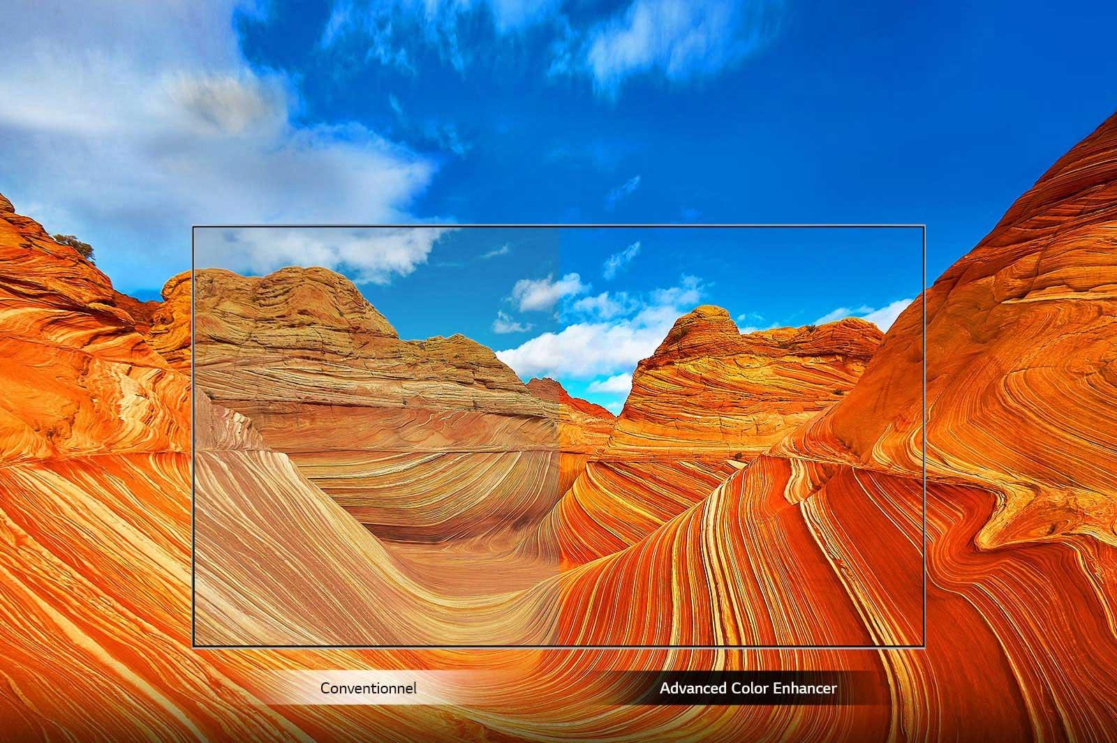 La technologie Advanced Color Enhancer ajoute de l'intensité aux couleurs du desert