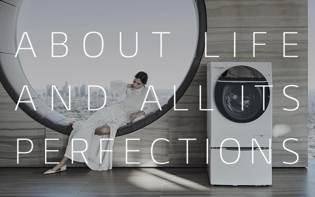 A image of new lg brand philosophy 'lg-ness' key visual with lg signature twinwash washing machine product