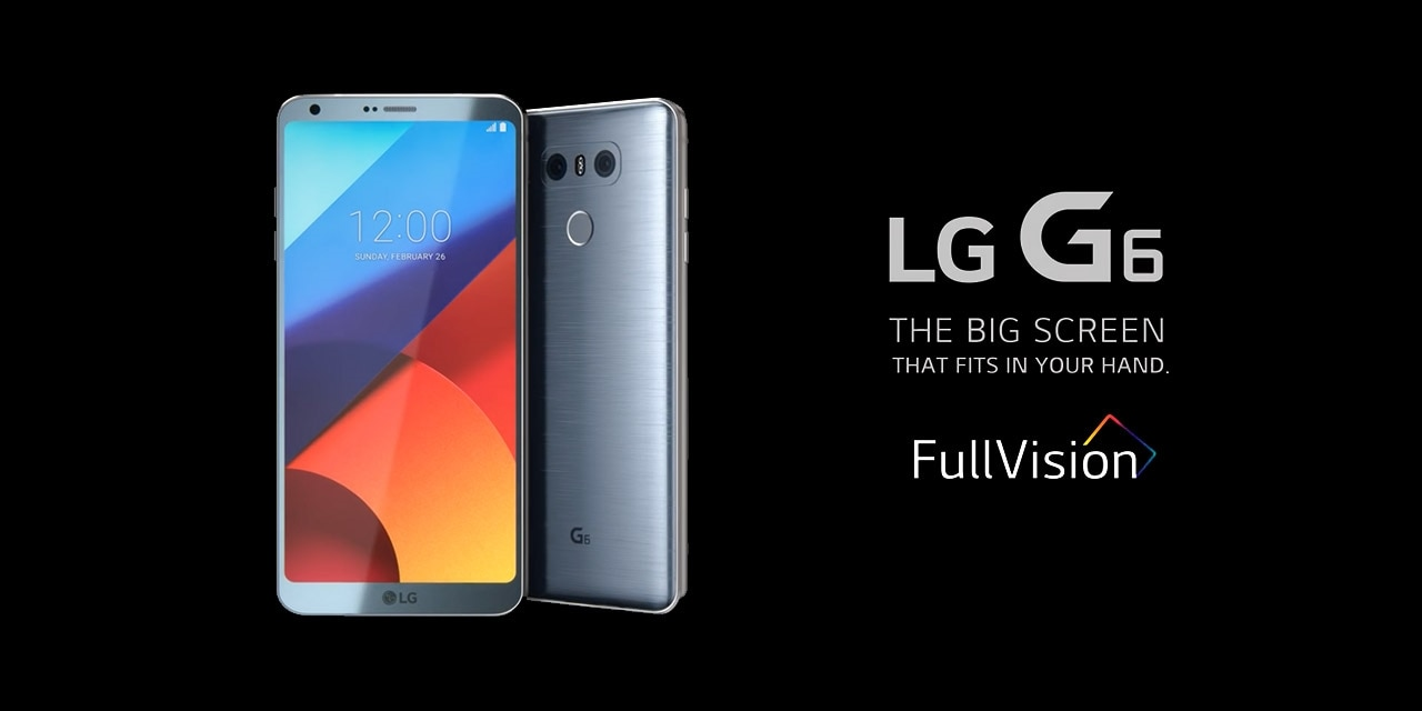 An image of LG g6 ice platinum smartphones with Fullvision logo