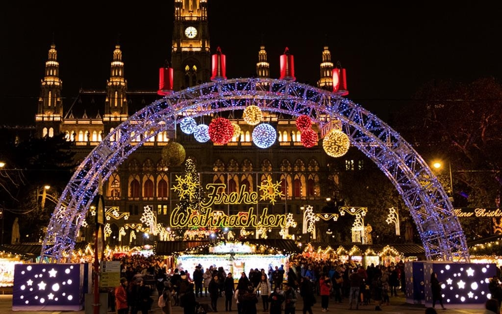 A view of the entrance to the Christmas market in Vienna, Austria.