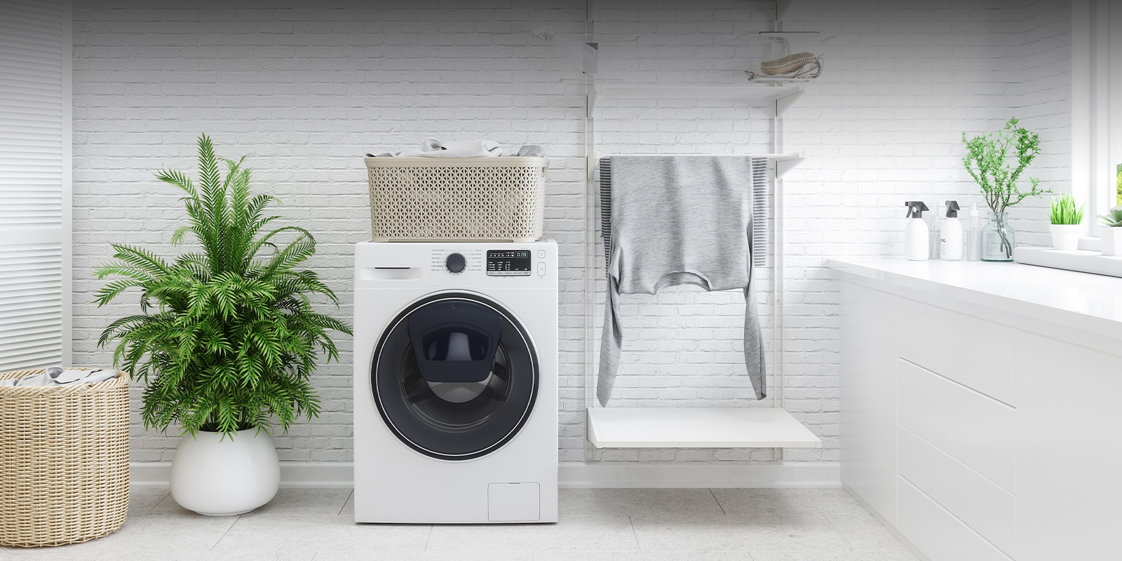 Image with washing machine and drying rack in laundry room
