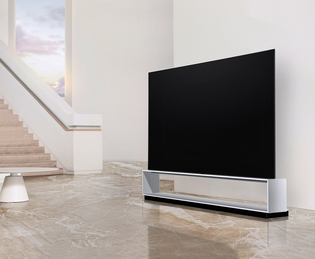 Image of LG SIGNATURE OLED TV Z9 laid on right next to stairs