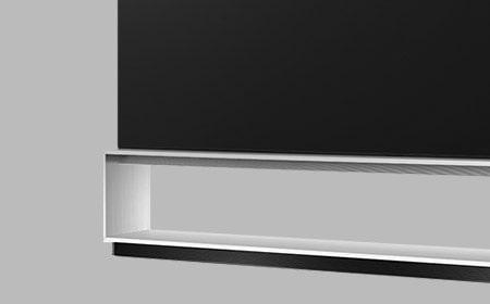 Close side shot of LG SIGNATURE OLED TV Z9's artistic furniture stand