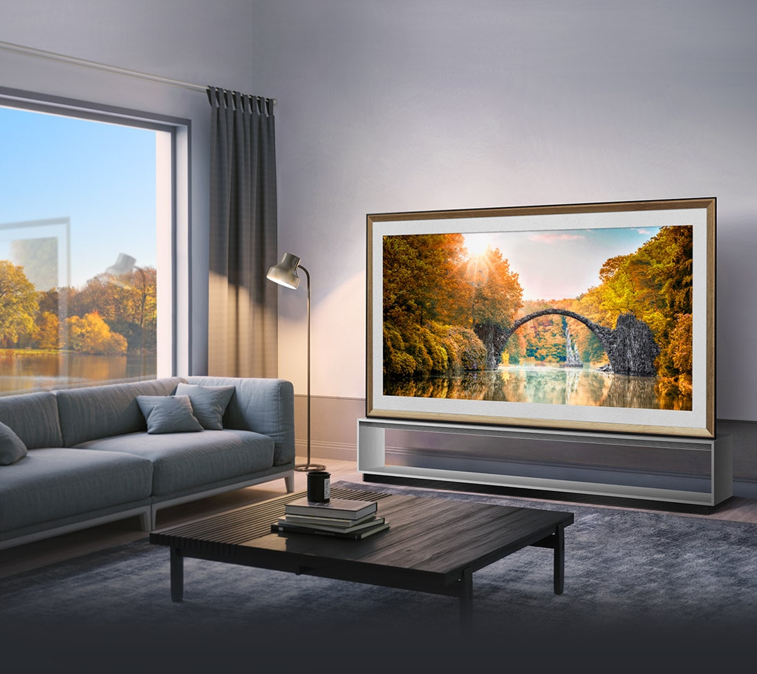 LG SIGNATURE OLED TV Z9 is laid right on the middle of the living room