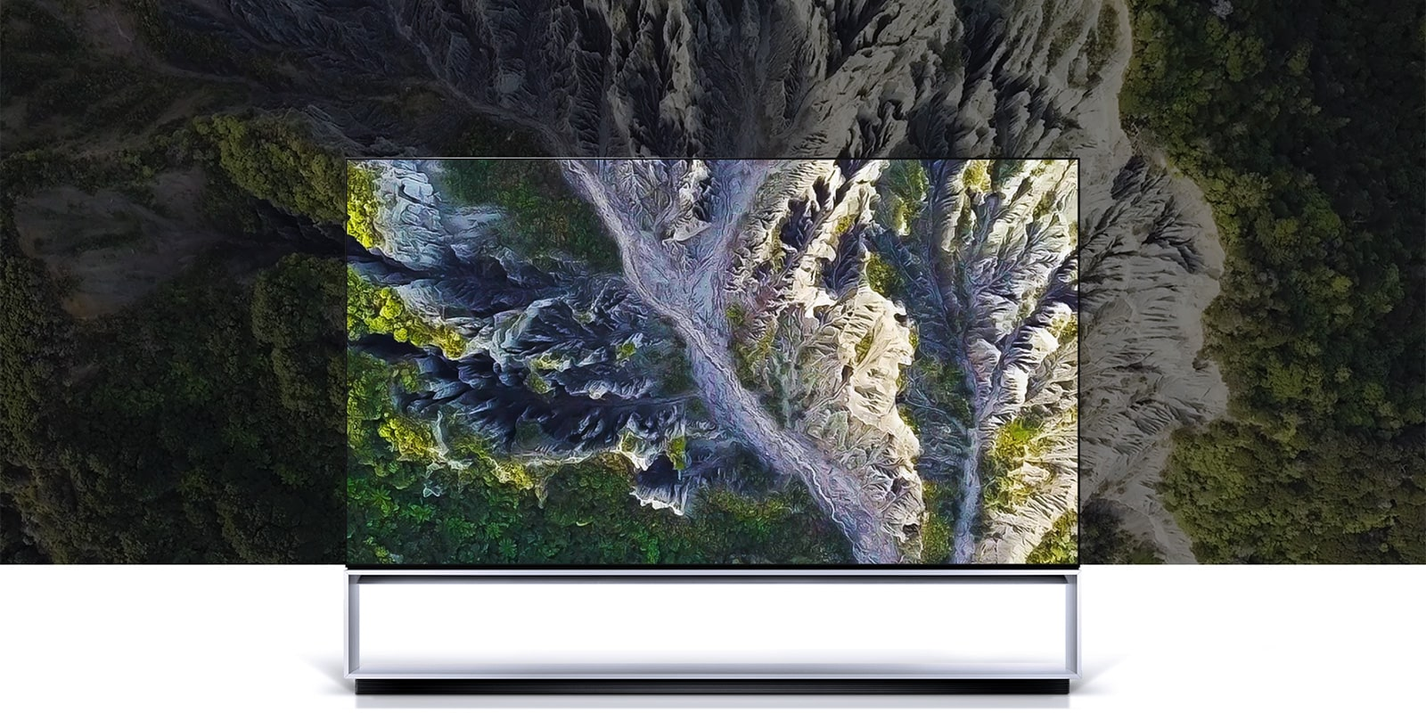 Image of LG SIGNATURE OLED TV Z9 with the screen filled with a gorge