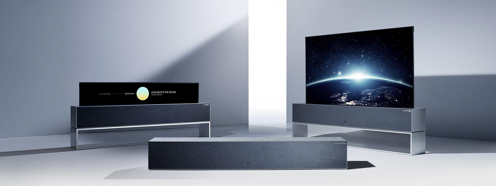 Три выдвижных OLED-телевизора LG SIGNATURE имеют режим полного обзора, линейный просмотр и нулевой просмотр.