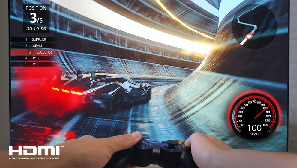 A close up of a player playing racing game on the LG SIGNATURE rollable OLED TV screen.