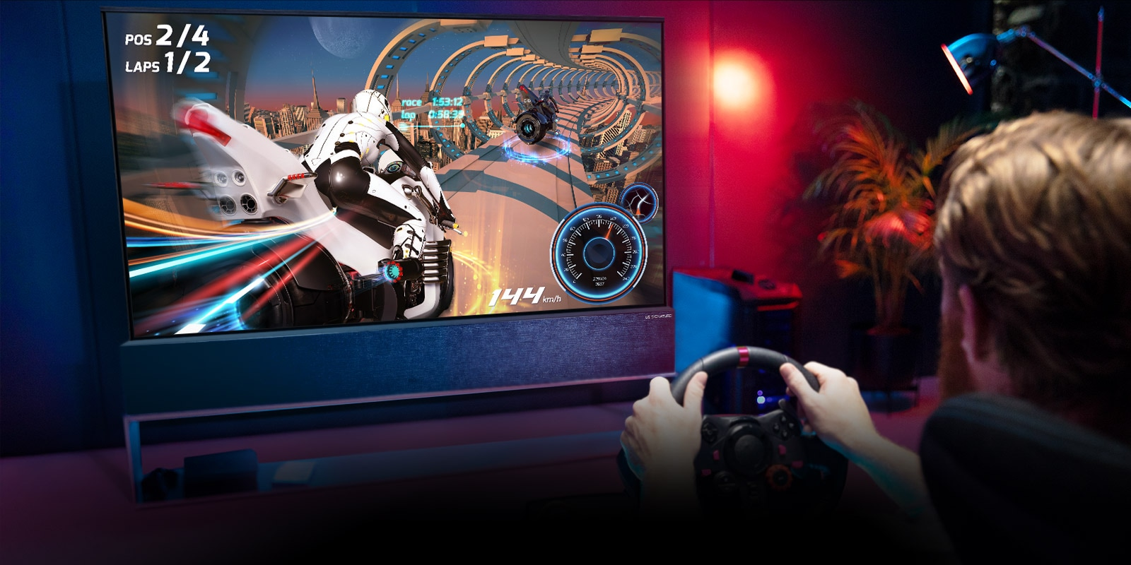 Man sitting on a racer gaming chair, holding a racing wheel while playing a racing game on the LG SIGNATURE rollable OLED TV screen.