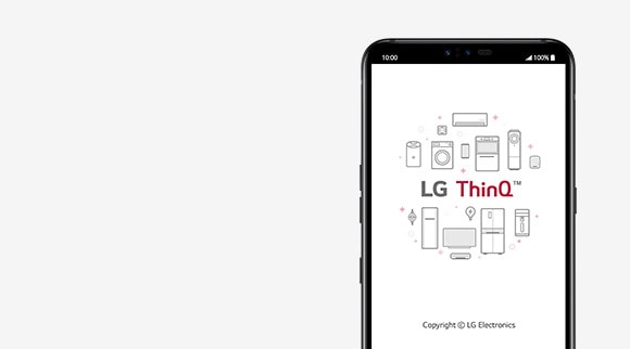 LG smartphone displays LG ThinQ App on the screen.