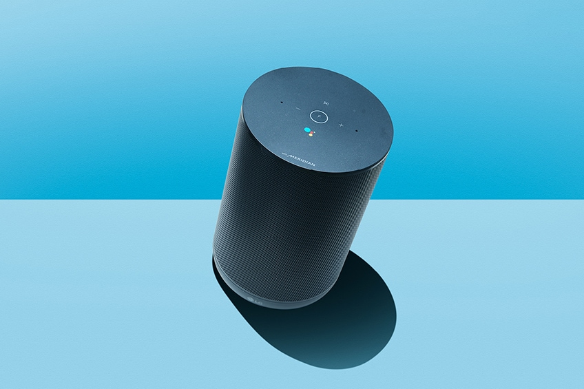 LG XBoom AI ThinQ speaker is showing up on blue background color