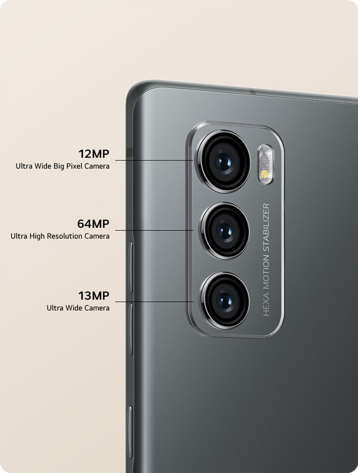 Rear view of a smartphone showing three cameras and front view with Pop Up Camera.