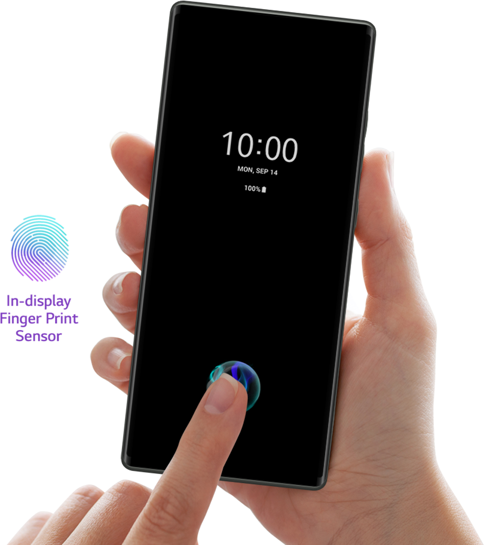 Woman who unlocks the lock screen with finger fingerprint recognition.
