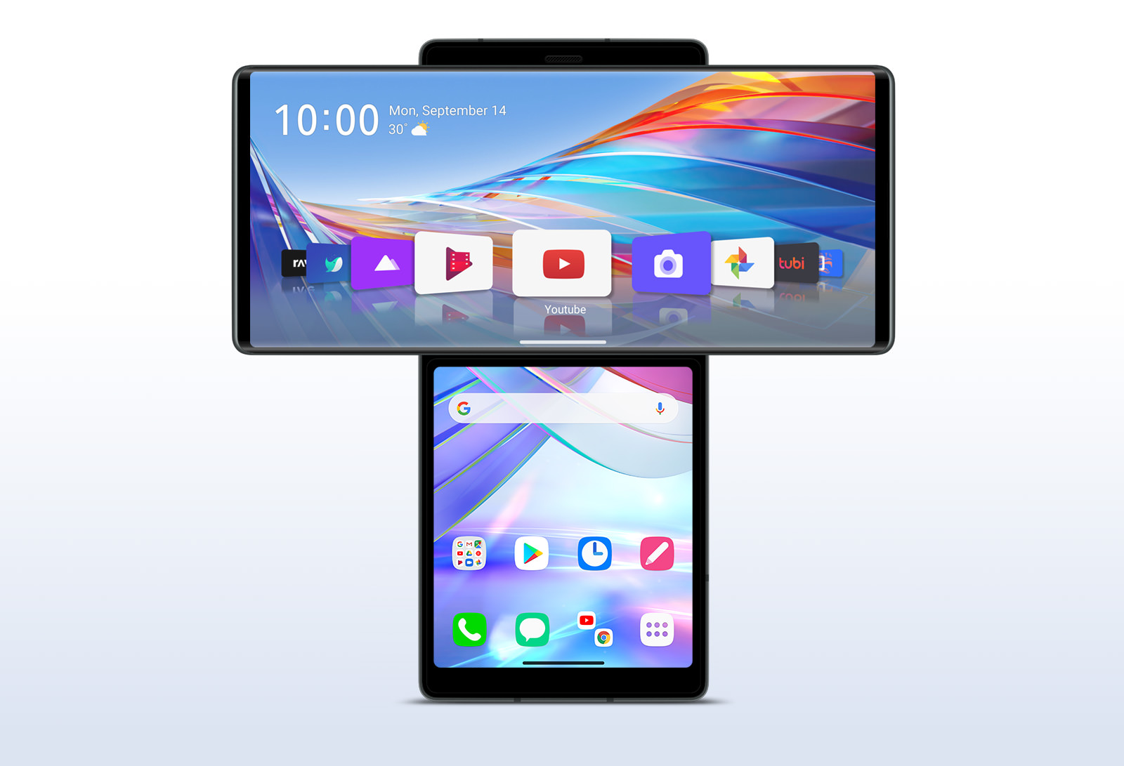 Smartphone swiveling up Main Screen to reveal Second Screen on front view.