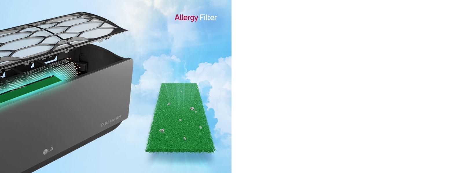Απεικονίζεται το κλιματιστικό στο πλάι και υπό γωνία, με τα φίλτρα να αιωρούνται υποδεικνύοντας το αντιαλλεργικό φίλτρο, το οποίο είναι τοποθετημένο εσωτερικά. Δίπλα στο μηχάνημα βρίσκεται ολόκληρο το πράσινο αντιαλλεργικό φίλτρο με παγιδευμένα ακάρεα σκόνης. Το λογότυπο AllergyFilter βρίσκεται στην άνω δεξιά γωνία.