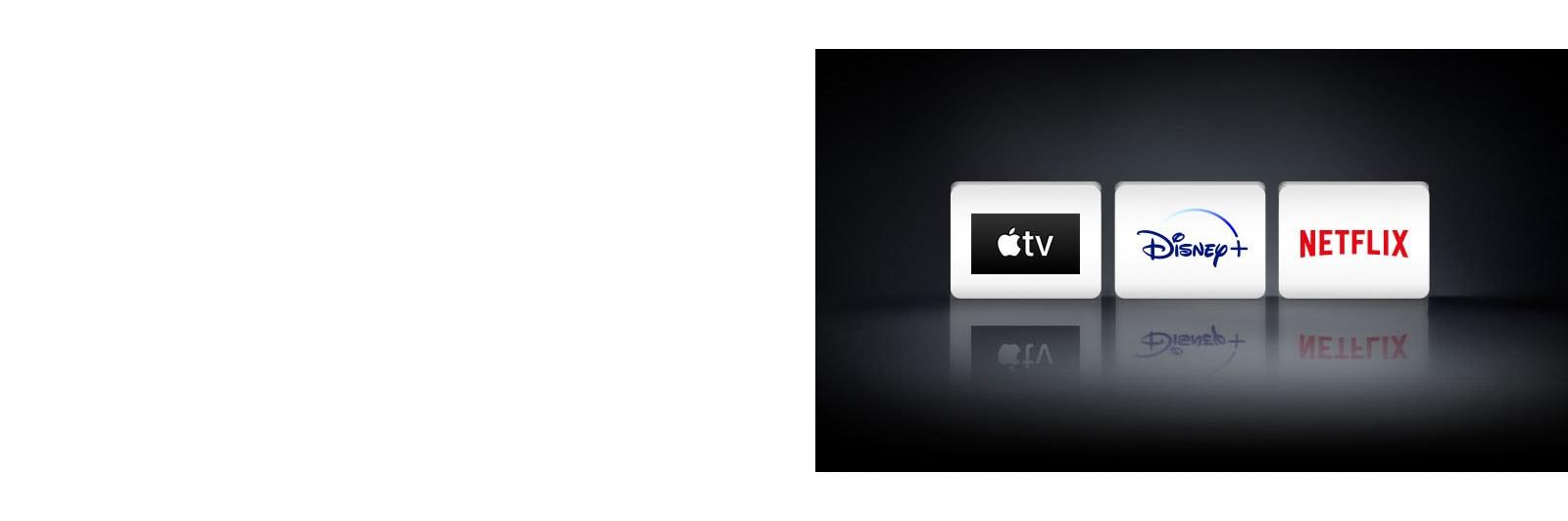 Τέσσερα λογότυπα: Apple TV app, Disney+ και Netflix