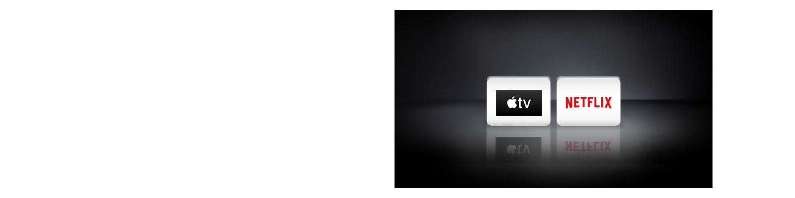 Απεικονίζονται τα λογότυπα Netflix, Apple TV σε οριζόντια διάταξη, σε μαύρο φόντο.