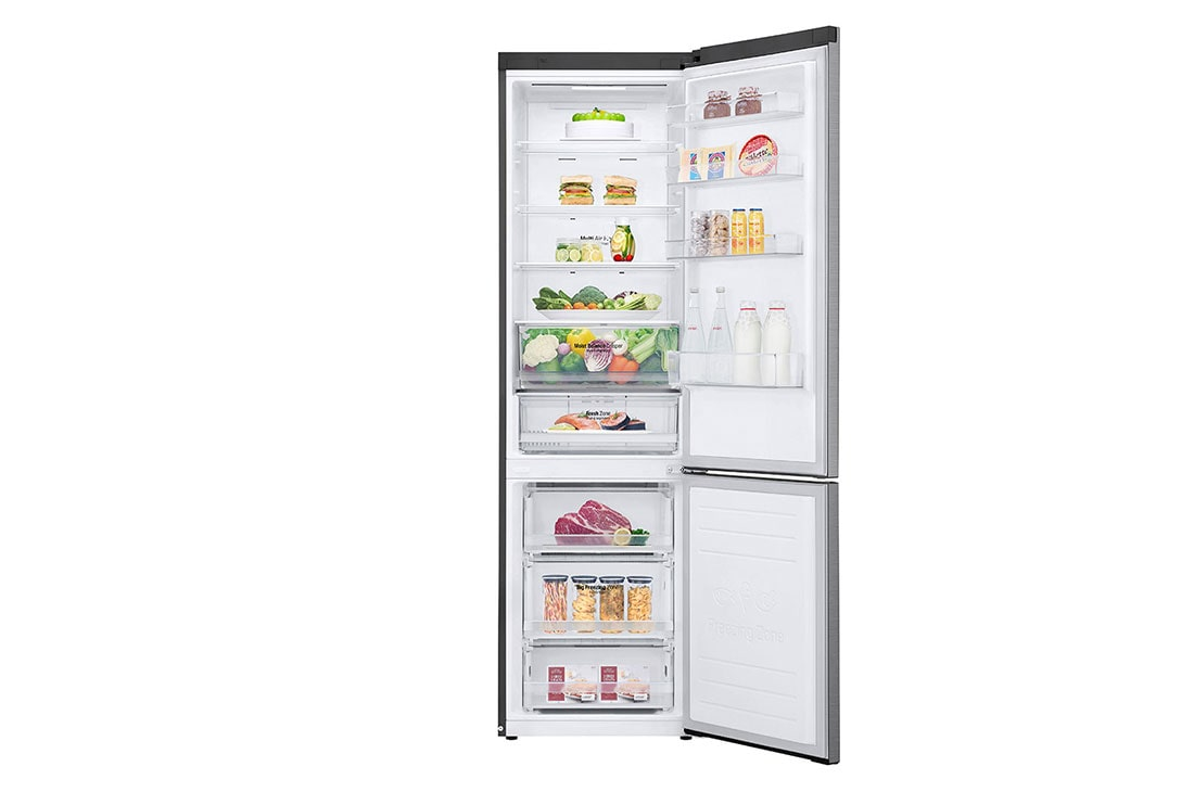 LG Ψυγειοκαταψύκτης Total No Frost 203 x 59,5 cm , Front view door open with food, GBB62PZHMN