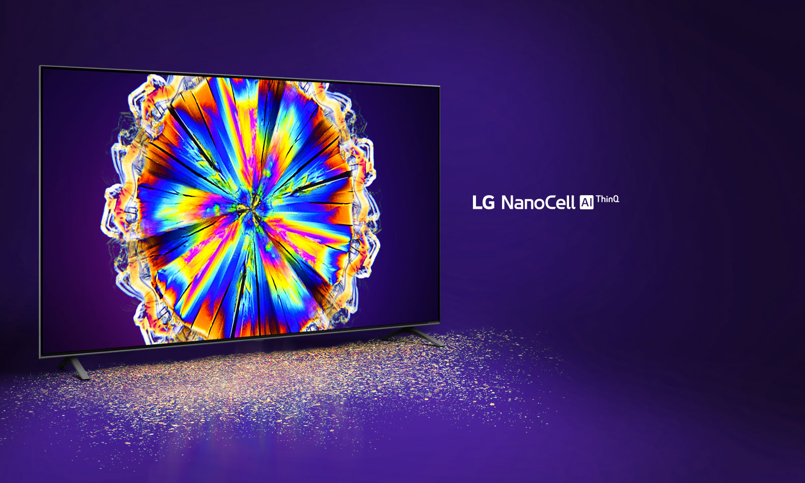 The image of colorful microcrystal on the TV screen