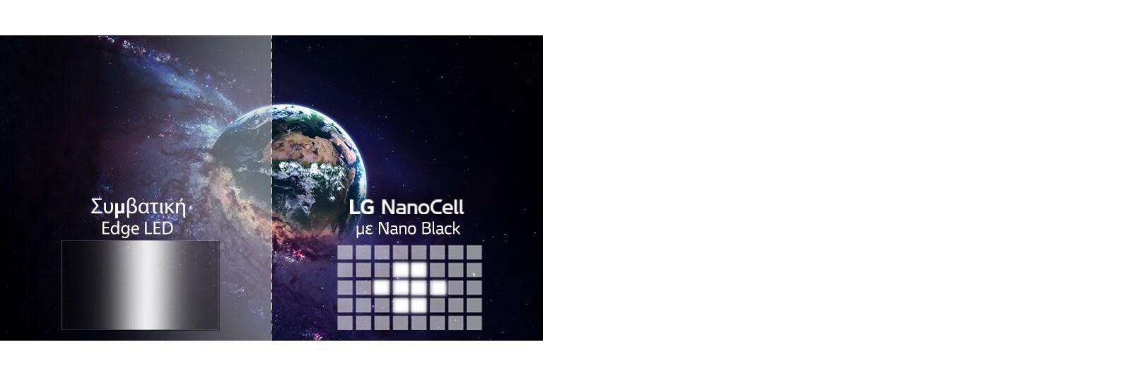 Σύγκριση ποιότητας εικόνας μεταξύ χρήσης συμβατικής μείωσης φωτισμού και τεχνολογίας Full Array Dimming, με αναφορά ένα πλάνο της υφηλίου