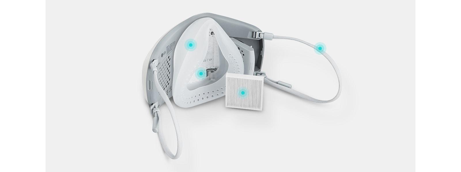 穿戴式空氣清新機配備一些可更換零件,例如過濾器、面罩、內蓋和耳帶,讓空氣持久清新。