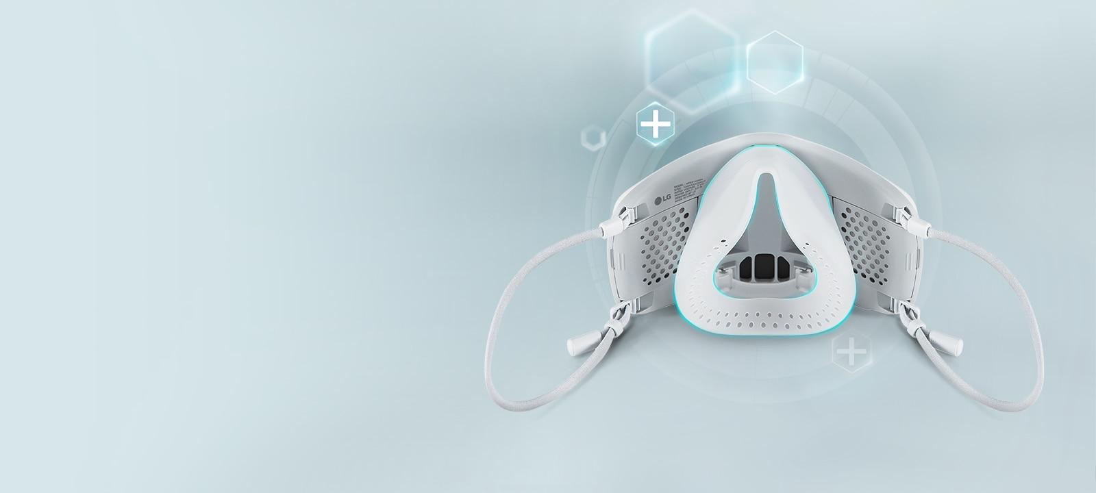 PuriCare™ 穿戴式空氣清新機的內部,淡藍色線標示採用醫用級矽膠製成的內蓋。