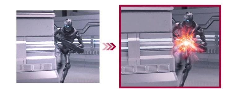 透過兩種遊戲場景比較傳統模式和具已最小化輸入訊號滯後的動態動作同步模式