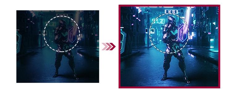 若以兩個遊戲場景為例,與傳統模式相比,Black Stabilizer 模式下的相同場景則具更佳可視性